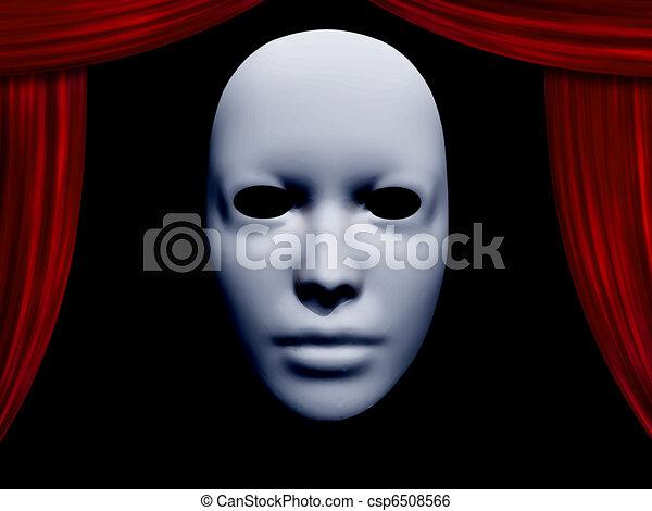 カーテン, マスク, 人間の顔 - csp6508566