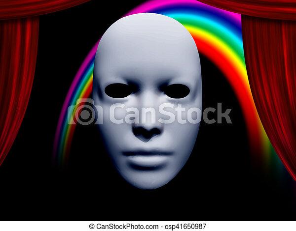 カーテン, 白, マスク, 虹 - csp41650987