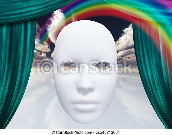 カーテン, 白, マスク, 虹 - csp45213064