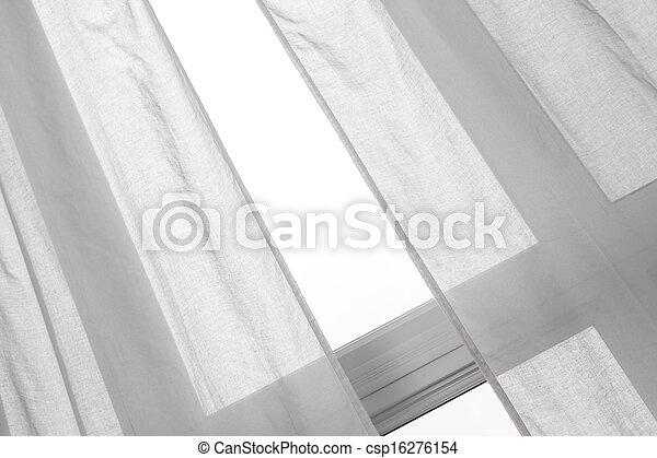 カーテン, 窓, 白 - csp16276154
