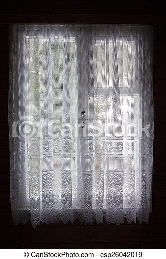 カーテン, 窓, 白 - csp26042019