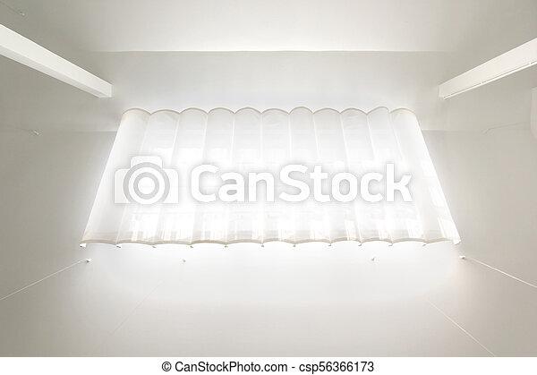 カーテン, 窓, 白, 屋根 - csp56366173