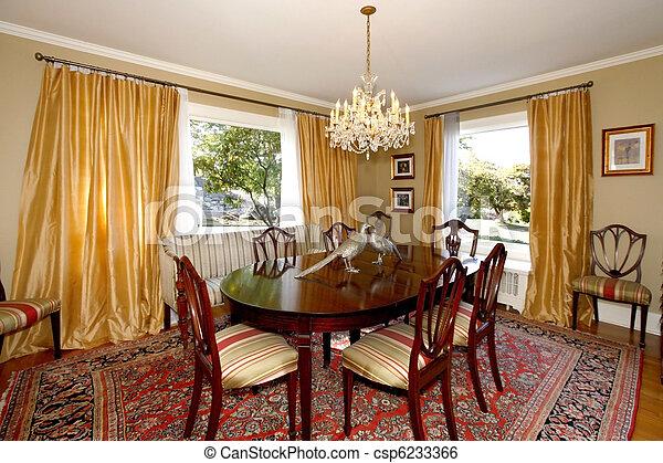 カーテン, 部屋, 黄色, 食事をする, 壁, 緑 - csp6233366