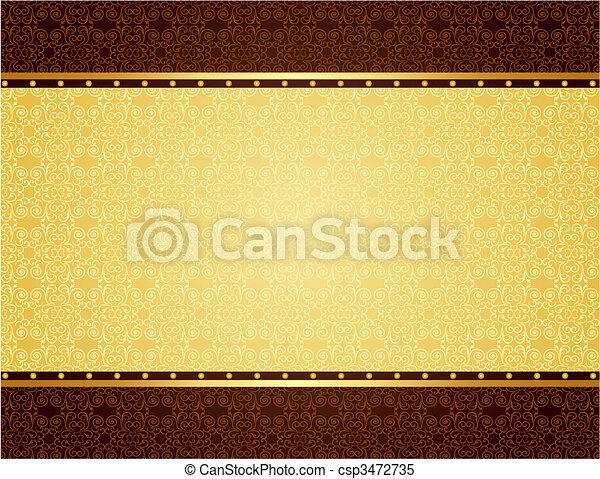 カード, デザイン, 背景, 金, 招待 - csp3472735