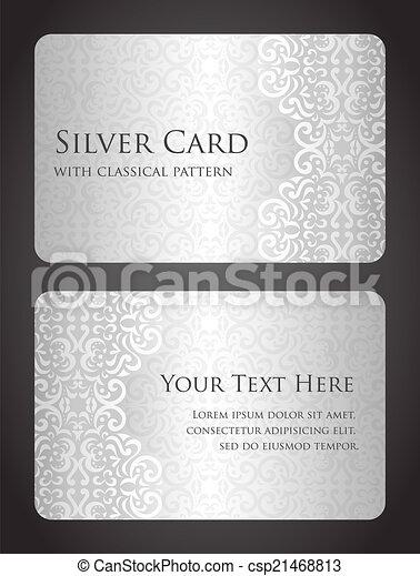 カード, パターン, 贅沢, 銀, 型 - csp21468813