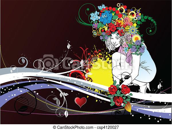 カード, 招待, 結婚式, 花嫁 - csp4120027