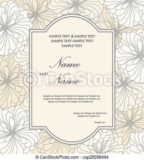 カード, 招待, 結婚式, 花 - csp28298494