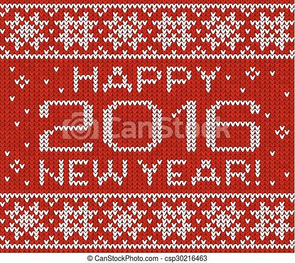 カード, 編まれる, 新年, 挨拶, 2016, 幸せ - csp30216463