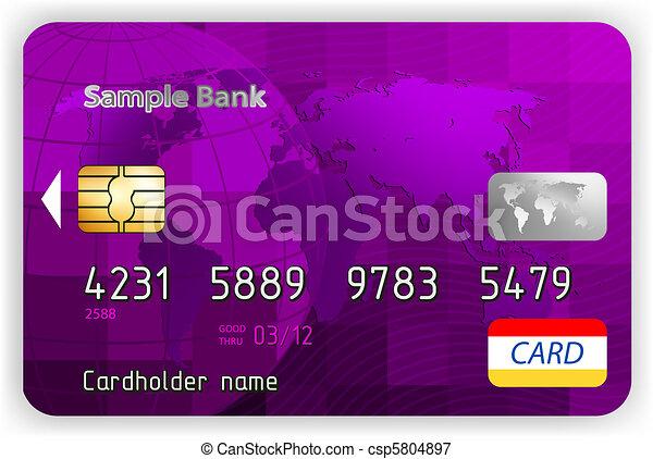 カード, eps, クレジット, ベクトル, すみれ, 前部, 8, ビュー。 - csp5804897