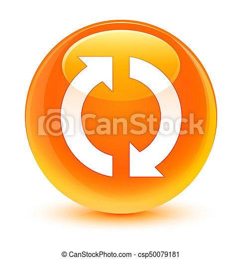 ガラス状, ボタン, 更新, オレンジ, ラウンド, アイコン - csp50079181