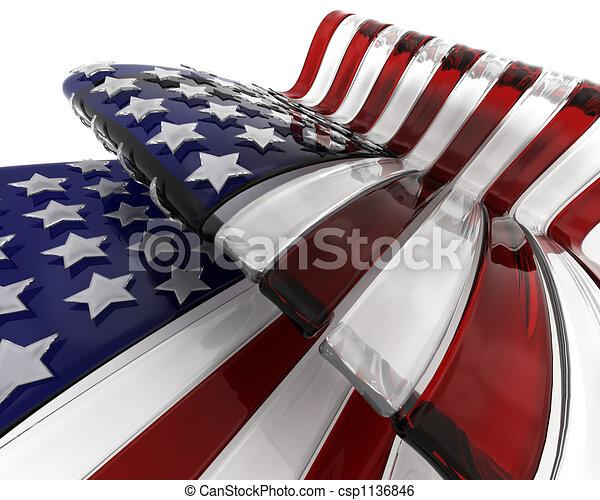 ガラス, アメリカの旗 - csp1136846