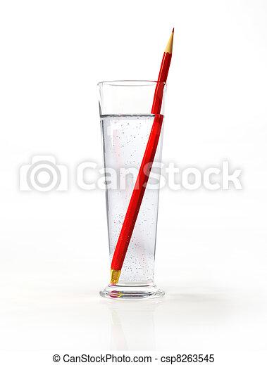 ガラス, 内側。, pensil, 水, 高い, 赤 - csp8263545