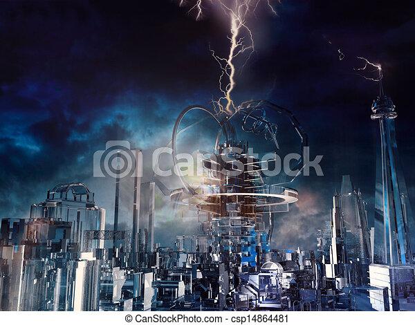 ガラス, 未来派, 都市 - csp14864481