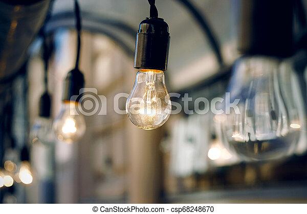 ガラス, 白熱, 夕方, 燃焼, 電球 - csp68248670