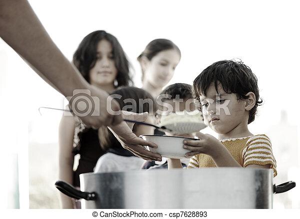 キャンプ, 食物, 避難者, 人道主義者, 空腹, 分配, 子供 - csp7628893