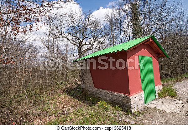 キャンペーン, 家, すばらしい, 緑, 小さい, ro, 側, 赤 - csp13625418
