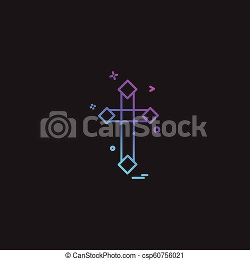 キリスト教徒, ベクトル, デザイン, 交差点, アイコン - csp60756021