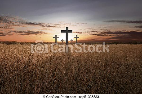 キリスト教徒, 明るい, 日没, 交差点 - csp51338533