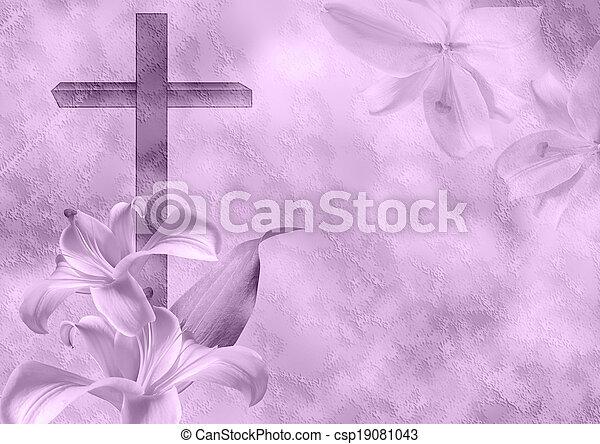 キリスト教徒, 花, ユリ, 交差点 - csp19081043