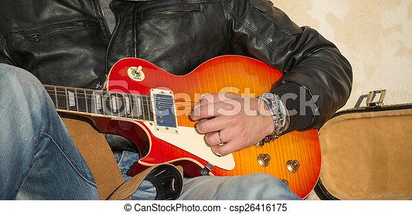 ギター プレーヤー, ぐっと近づいて - csp26416175