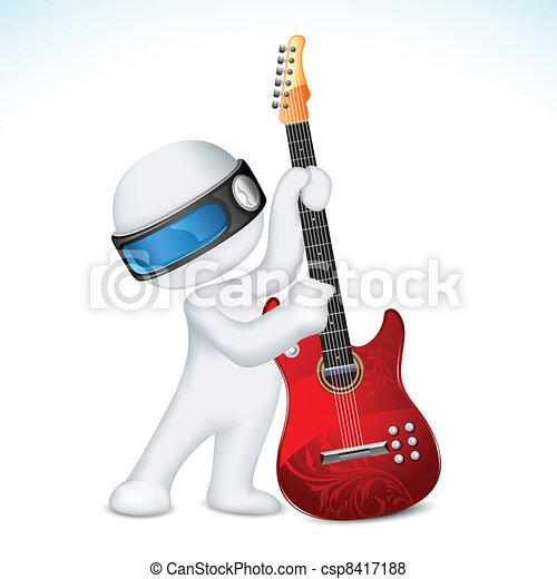 ギター, ベクトル, 人, 3d - csp8417188