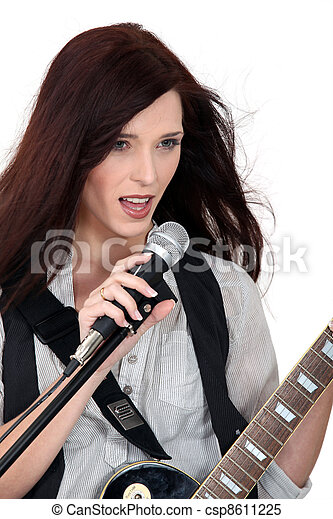 ギター, 女, 歌うこと, 遊び - csp8611225