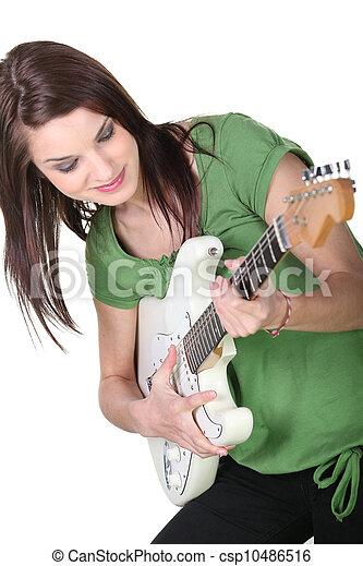 ギター, 女, 若い, 遊び - csp10486516