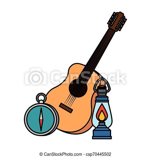 ギター, 灯油, ランタン, ガイド, コンパス - csp70445502