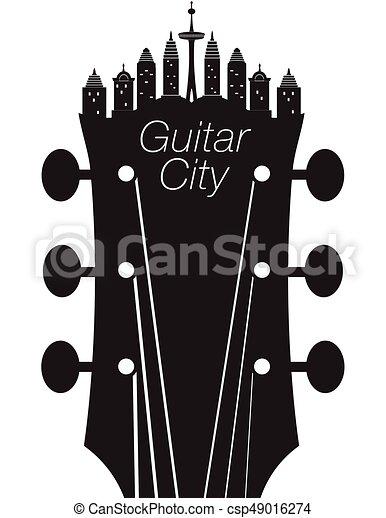 ギター, 都市, 音楽, 背景, 創造的 - csp49016274