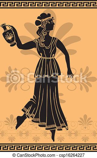 ギリシャ語, 女, 型板, amphora - csp16264227