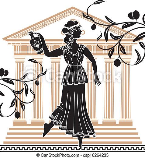 ギリシャ語, 女, 寺院, amphora - csp16264235