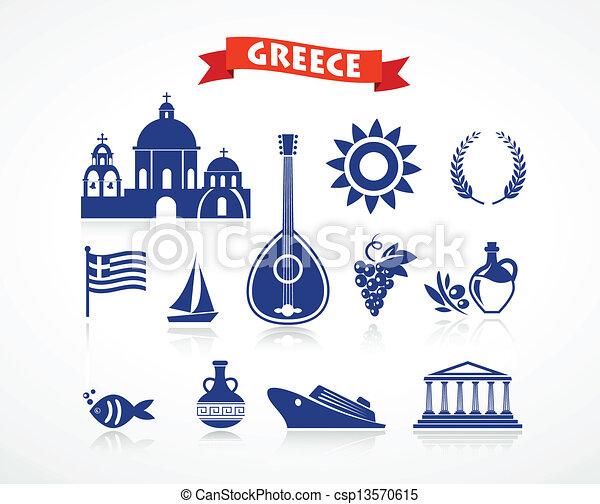 ギリシャ, セット, -, アイコン - csp13570615