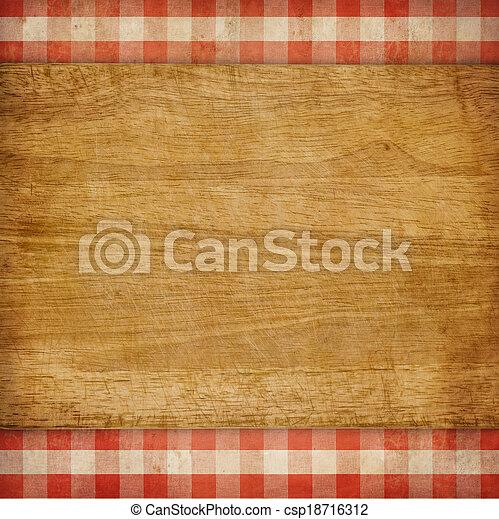 ギンガム, ピクニック, 上に, まな板, 背景, グランジ, チェックされた, テーブルクロス, 赤 - csp18716312