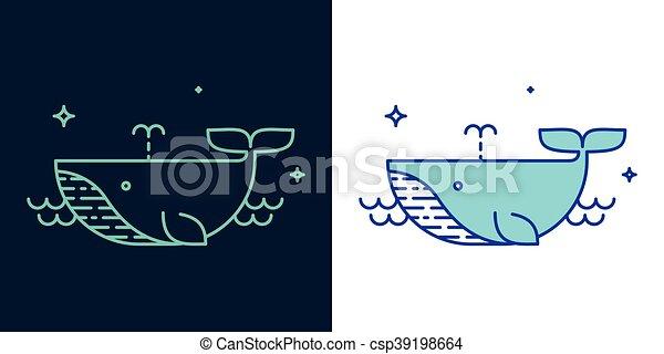 クジラ, スタイル, ベクトル, 線である, アイコン - csp39198664