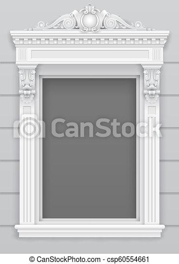 クラシック, フレーム, 窓, 建築である, ファサド, 白 - csp60554661