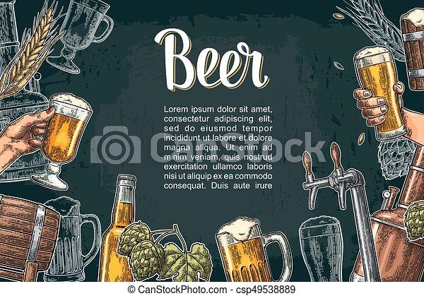 クラス, セット, びん, 缶, 蛇口, ビール, タンク, factory., 醸造所 - csp49538889