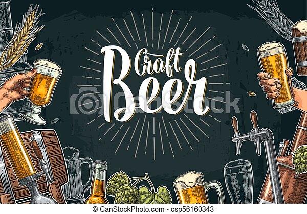 クラス, セット, びん, 缶, 蛇口, ビール, タンク, factory., 醸造所 - csp56160343
