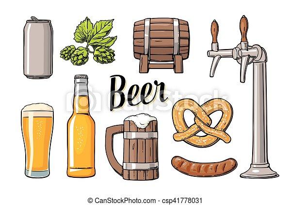 クラス, セット, 缶, ソーセージ, プレッツェル, ビール, hop., びん, 蛇口, 樽 - csp41778031