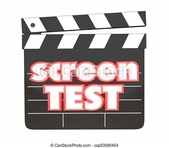 クラッパー, 映画 スクリーン, イラスト, 板, テスト, フィルム, 3d - csp53580454