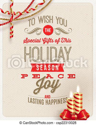 クリスマスろうそく, -, イラスト, ホリデー, 装飾, ベクトル, 背景, ボール紙, タイプ, デザイン - csp22310028