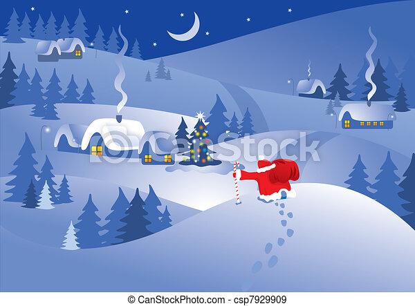 クリスマス, 夜 - csp7929909
