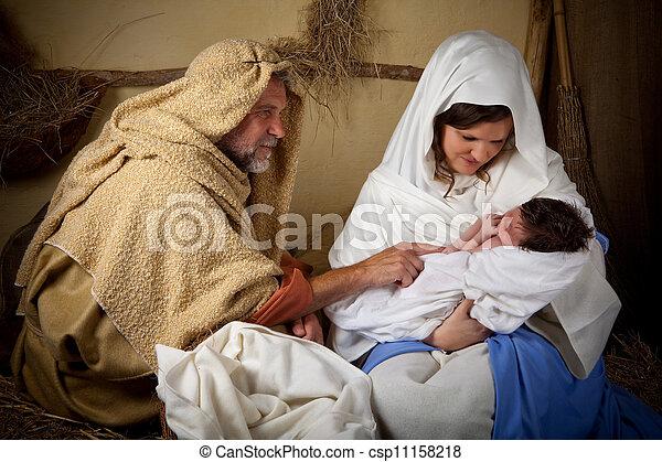 クリスマス, 家族, reenactment - csp11158218
