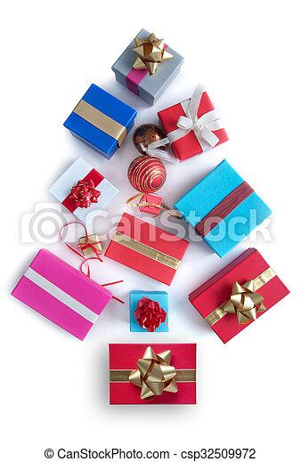 クリスマス, 形, 木, 贈り物 - csp32509972