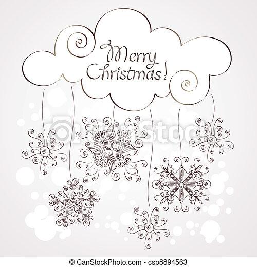 クリスマス, 背景, 雪片 - csp8894563