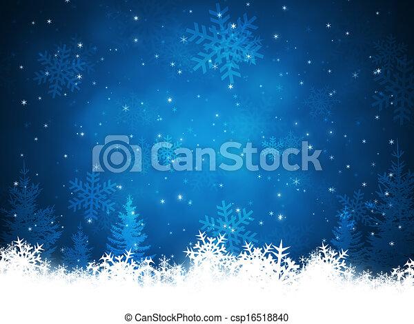 クリスマス, 背景, 雪 - csp16518840