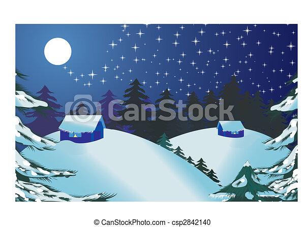クリスマス 風景 イラスト Year 見なさい ベクトル 陽気