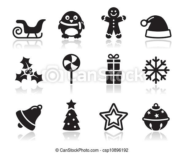 クリスマス, s, 黒, 影, アイコン - csp10896192