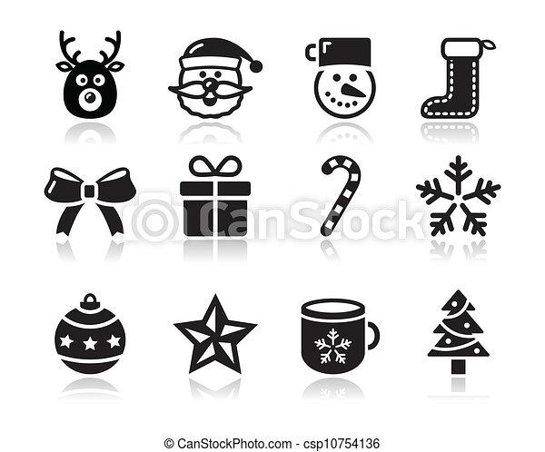 クリスマス, s, 黒, 影, アイコン - csp10754136