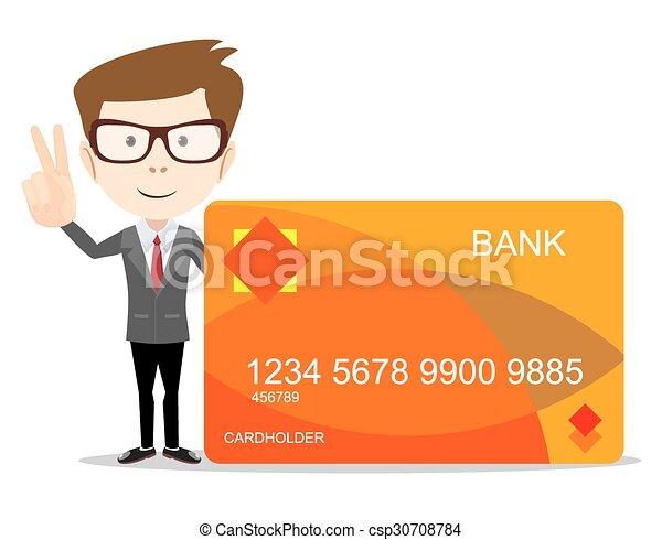 クレジット, 使用, 広告, カード, 人 - csp30708784