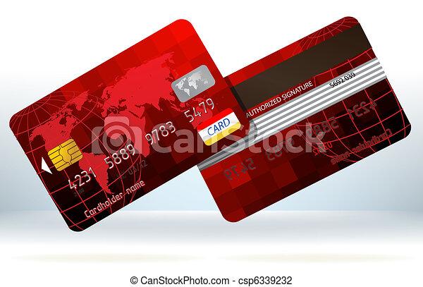 クレジット, eps, back., カード, 前部, 8, 赤 - csp6339232